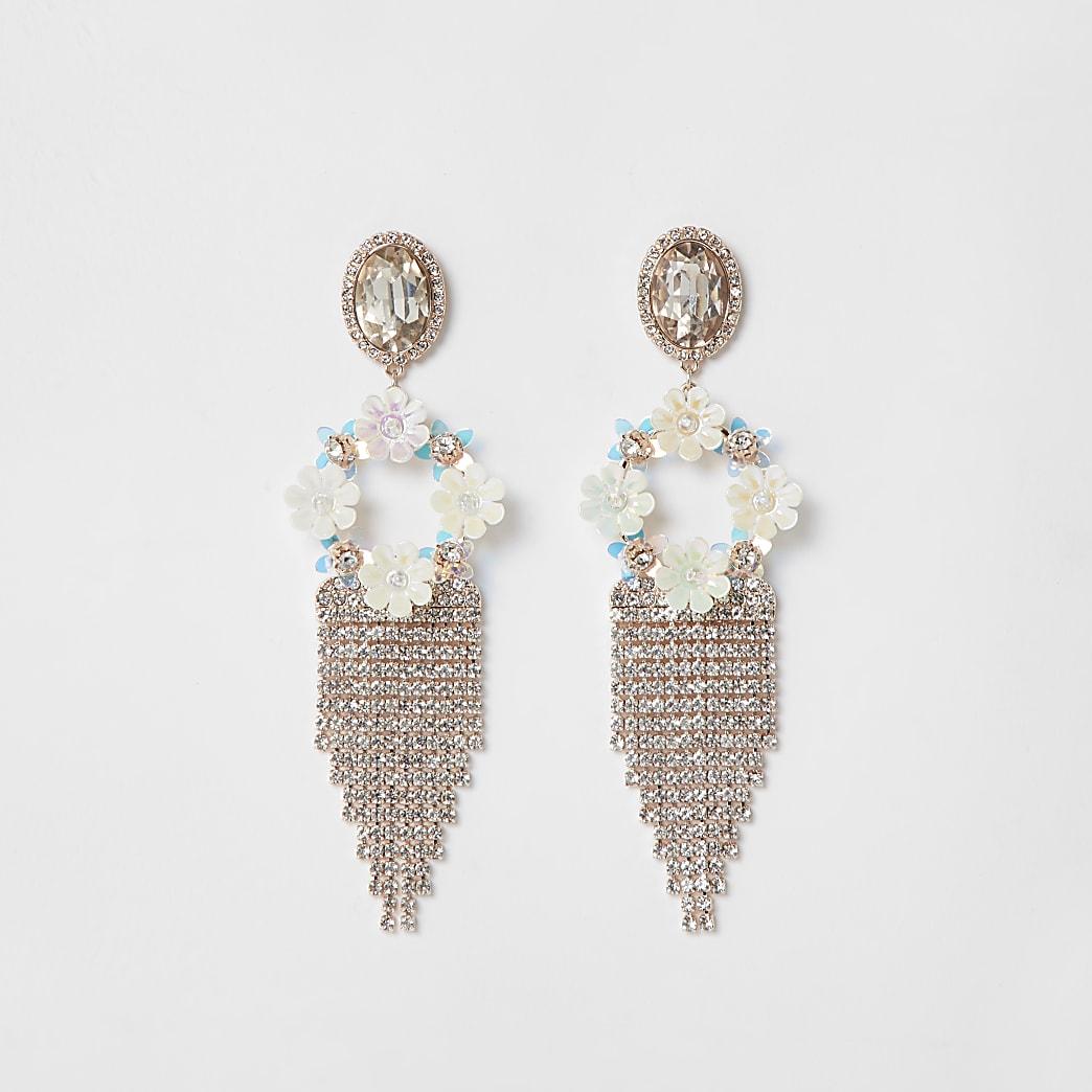 White floral tassel drop earrings