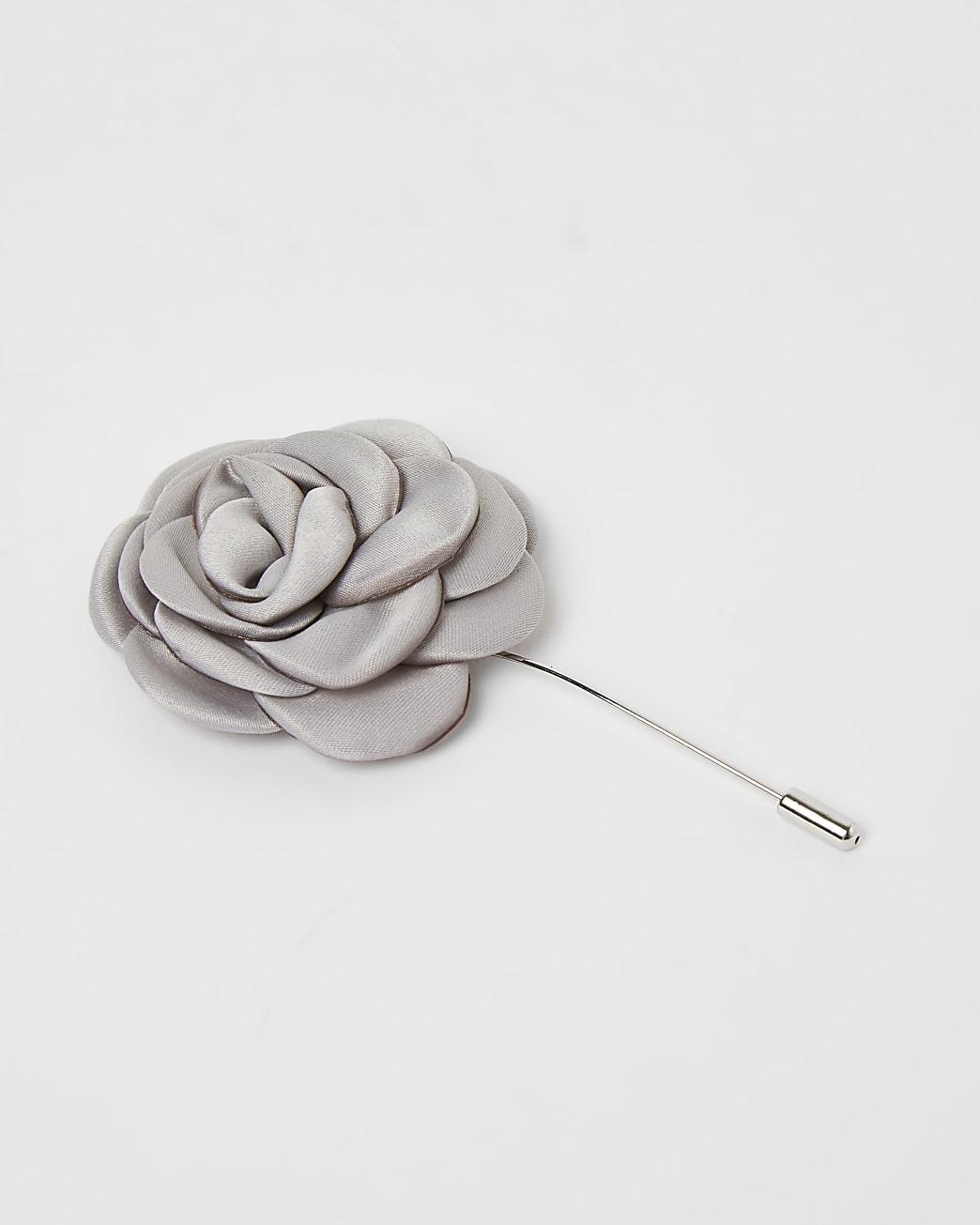 White flower satin lapel pin