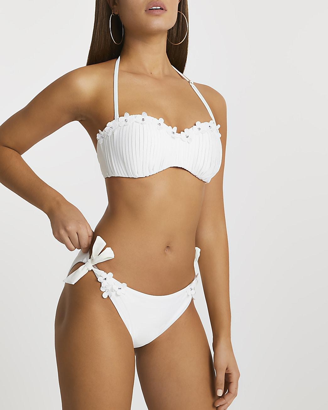 White flower trim tie side bikini brief