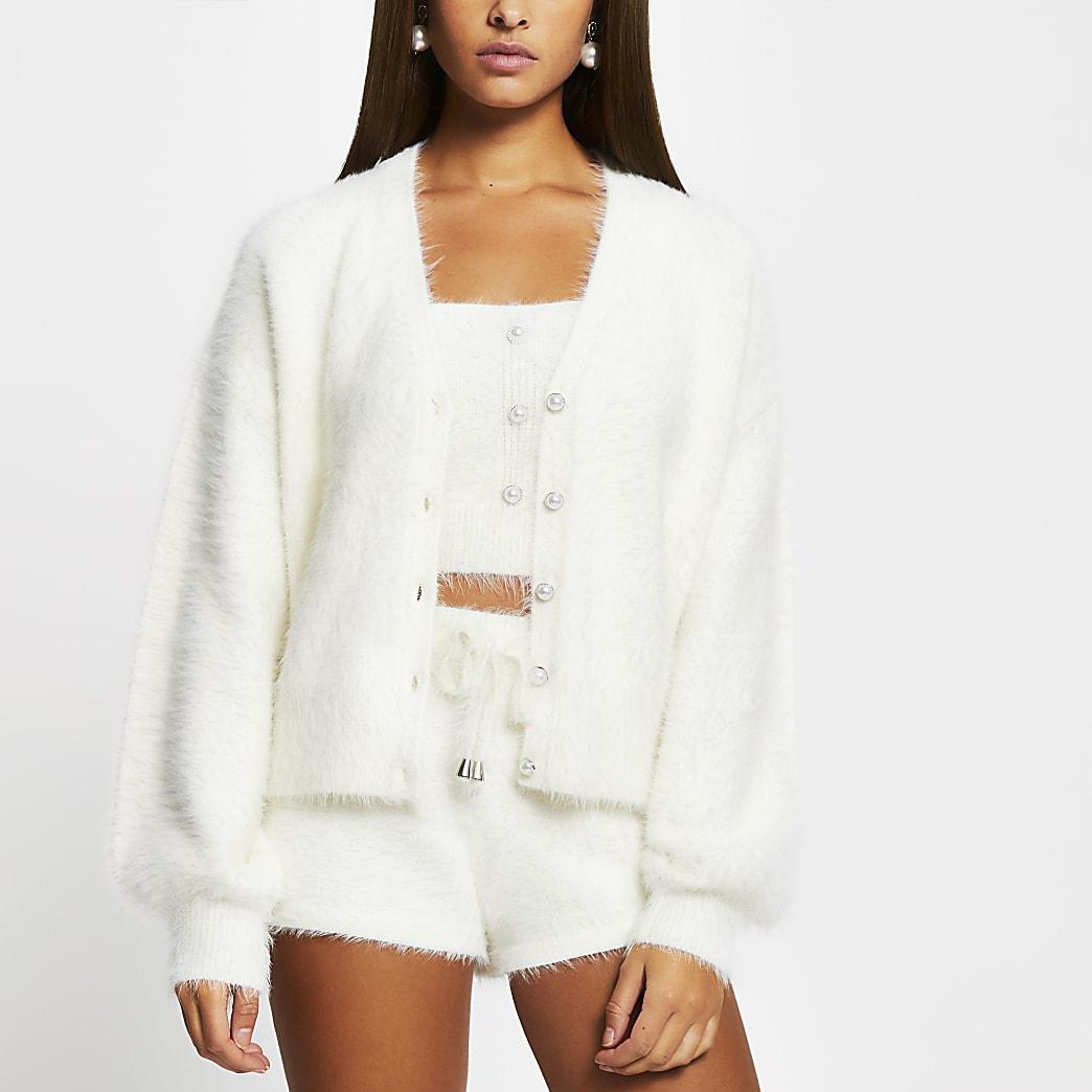 White fluffy button detail cardigan