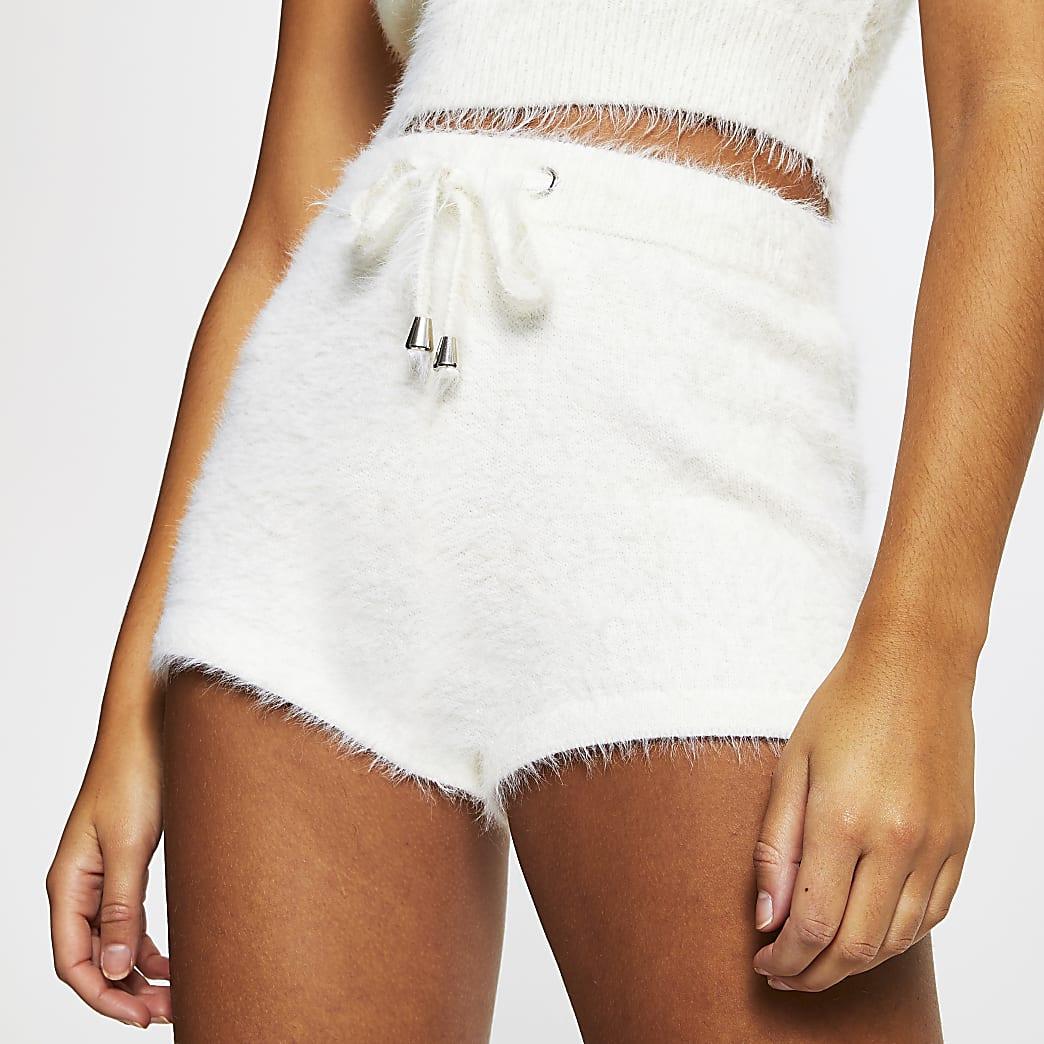 White fluffy shorts