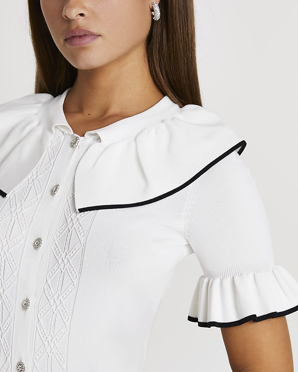 White frill collar button down cardigan
