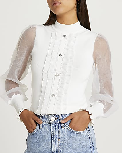 White frill detail puff sleeve top
