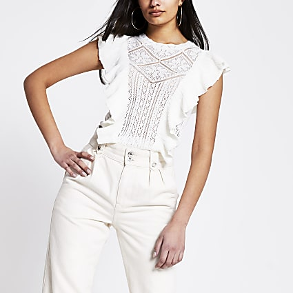 White frill lace knitted top