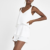 White frill playsuit