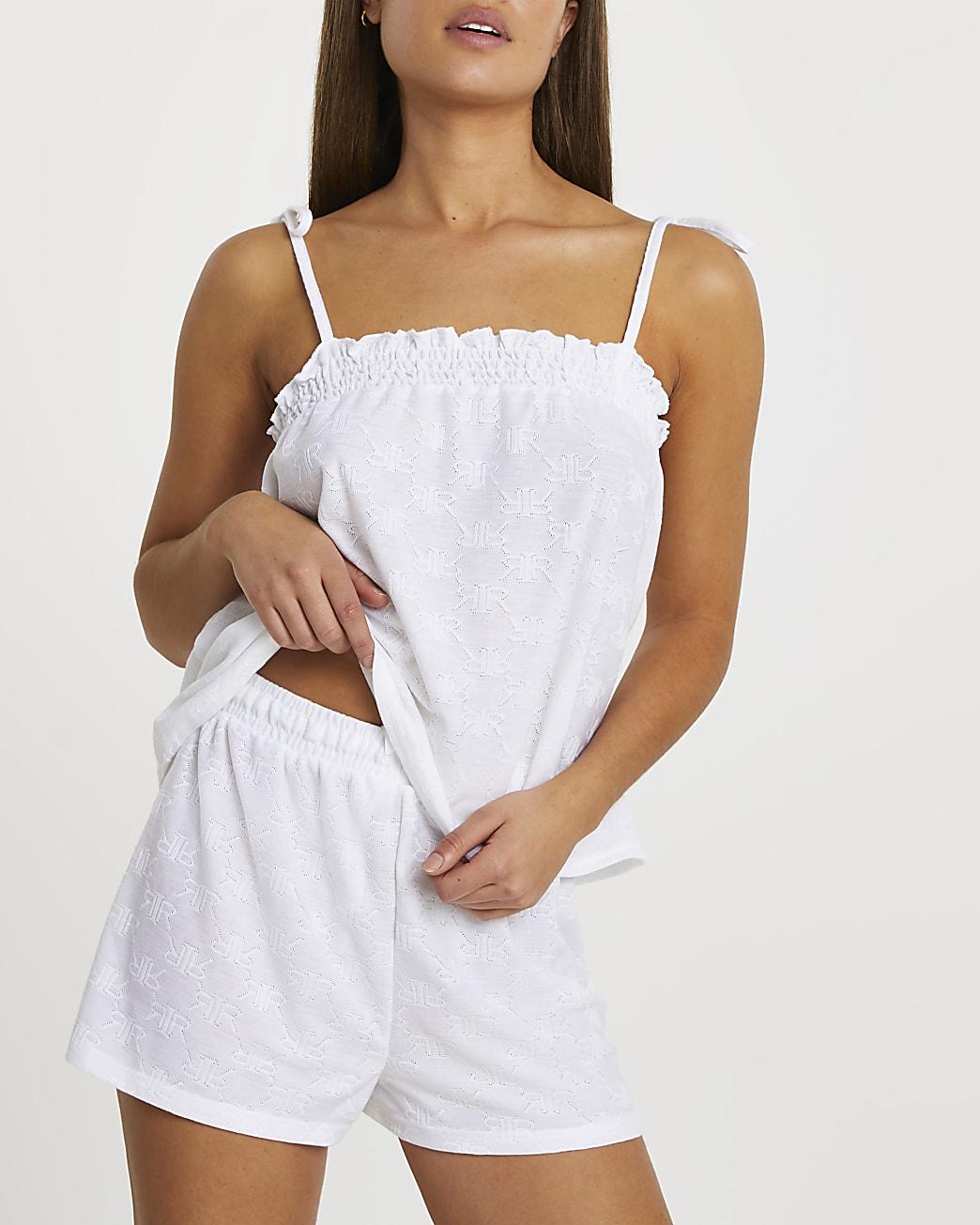 White frill pyjama set