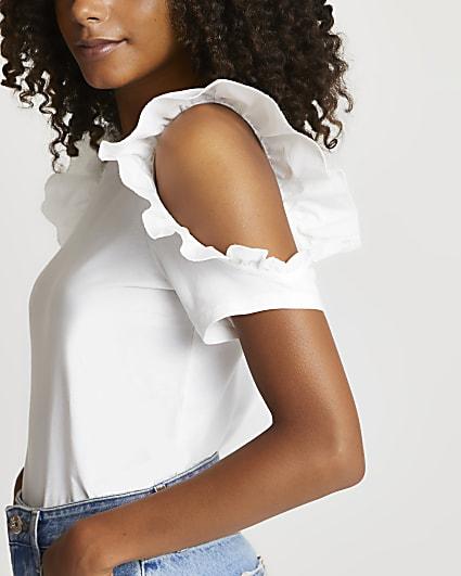 White frill shoulder t-shirt