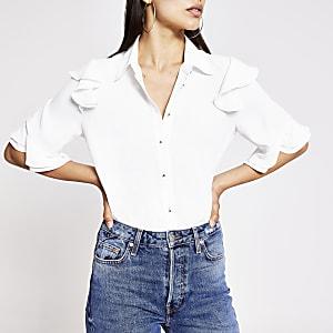 Chemise blanche à manches à volants