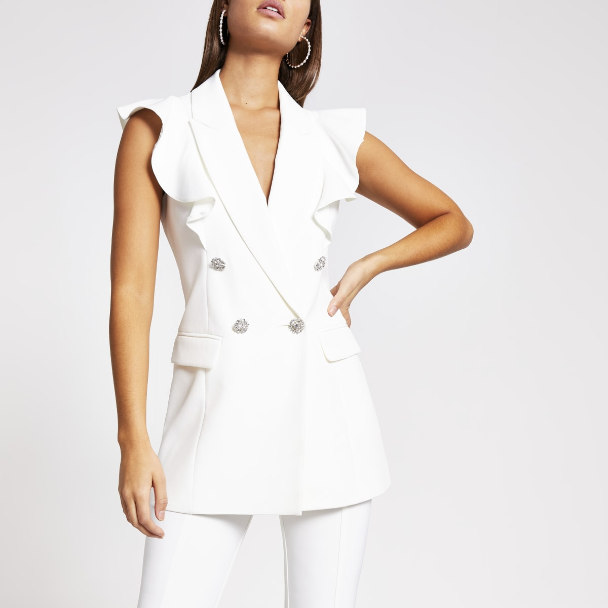 White frill sleeveless double breasted blazer