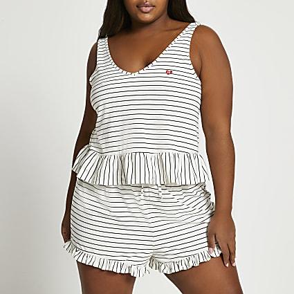 White frill stripe swing pyjama set
