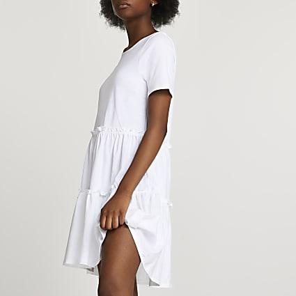 White frill tiered t-shirt dress