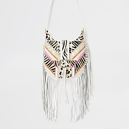 White fringe animal cross body messenger bag