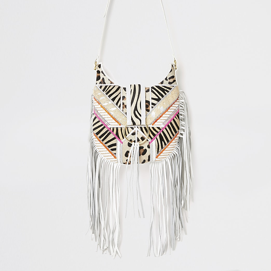 River Island River Island Womens White fringe animal cross body messenger bag from River Island US | Daily Mail