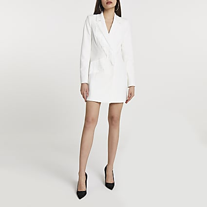 White fringe blazer dress