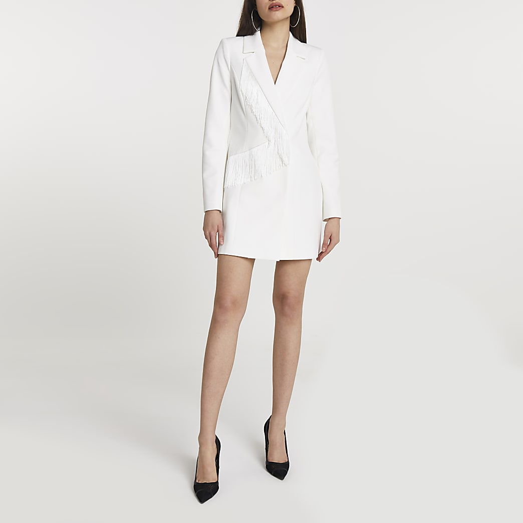 White fringe blazer dress