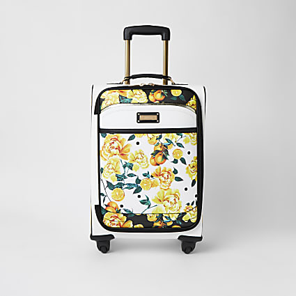 White fruit flower print four wheel suitcase