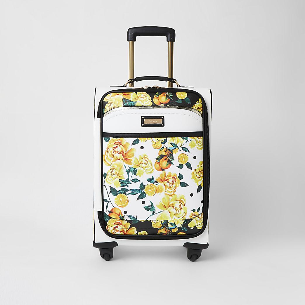 White fruit flower print four wheel suitcase
