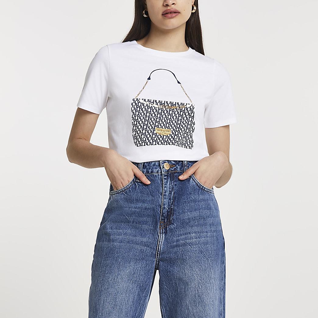 White FTBC Charity handbag print t-shirt