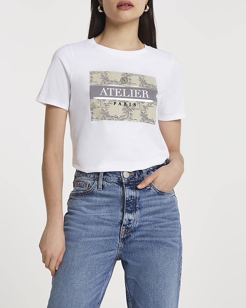 White FTBC Charity palm print t-shirt