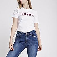 White FTBC charity sequin print T-shirt