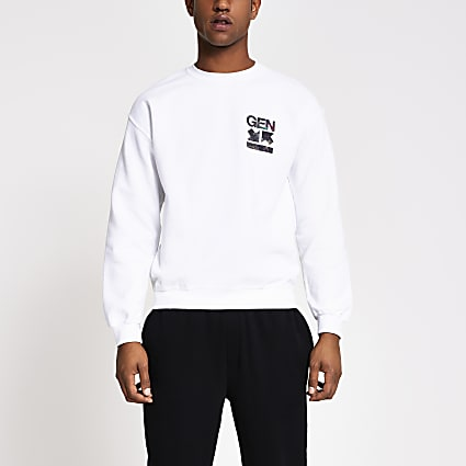 White 'Gen' printed regular fit sweatshirt