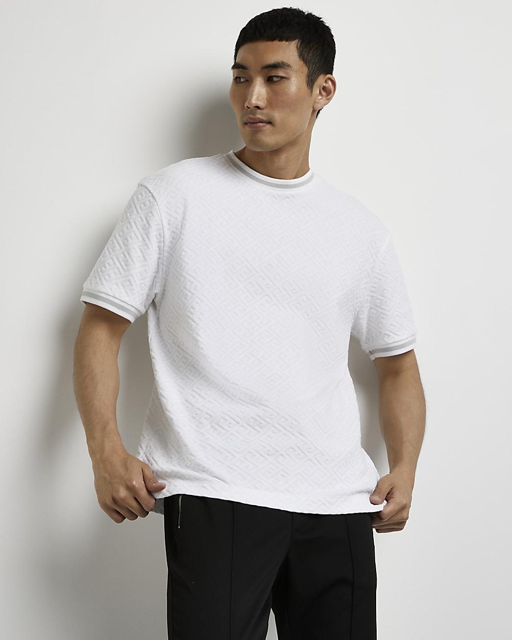 White geo jacquard print slim fit t-shirt