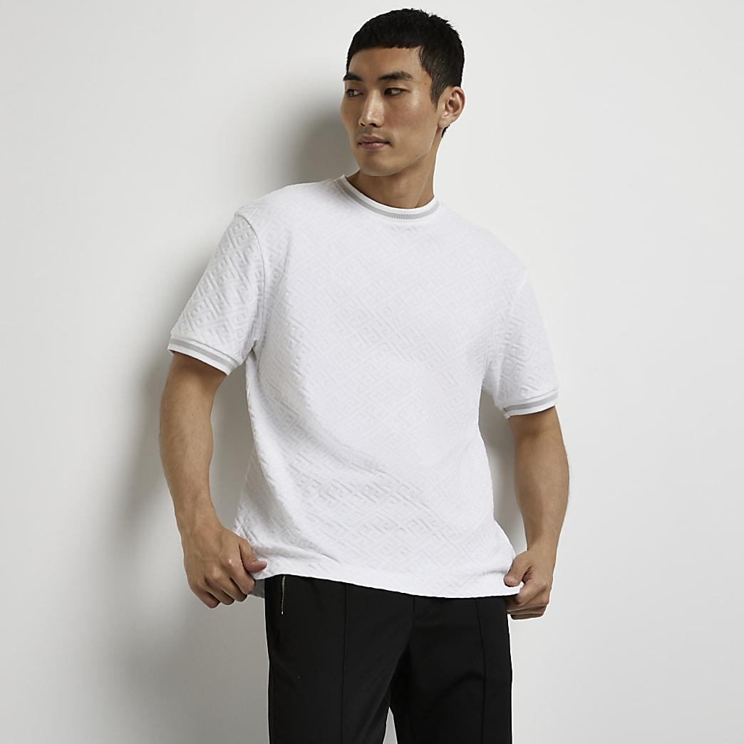 White geo jacquard print t-shirt