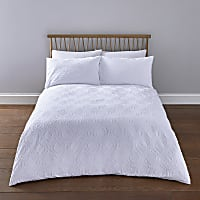 White geo textured double duvet bed set