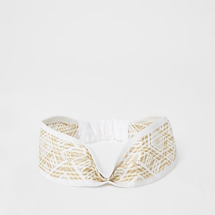 White geometric twist front headband