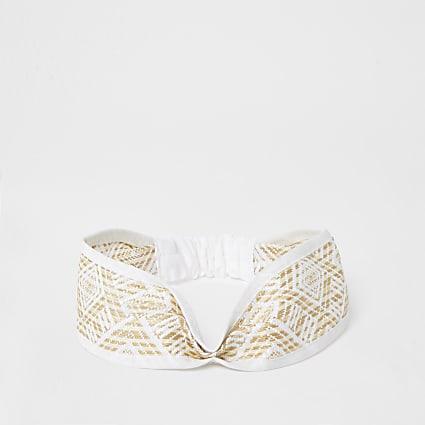 White geometric twist front headband