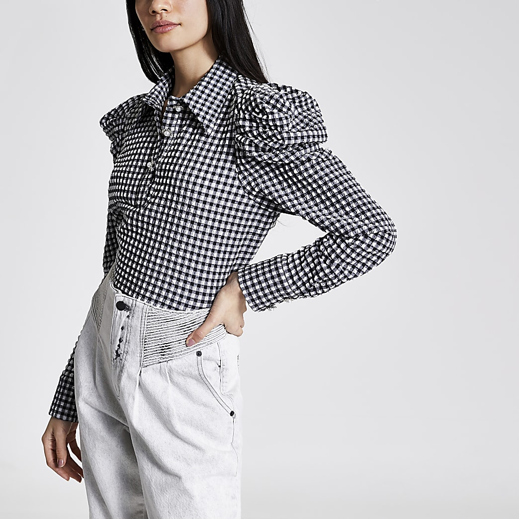 White gingham long puff sleeve shirt bodysuit