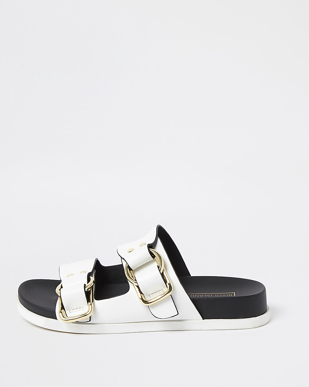 White gold buckle strap sandals