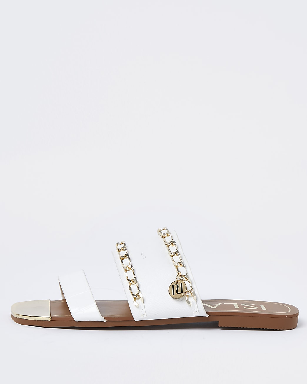 White gold chain RI flat sandals