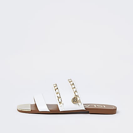 White gold chain RI flat sandals