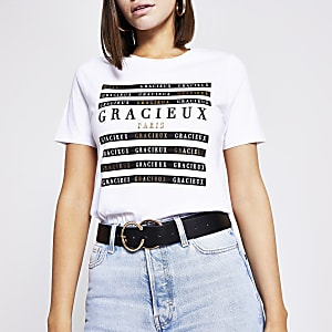 White 'Gracieux' printed T-shirt