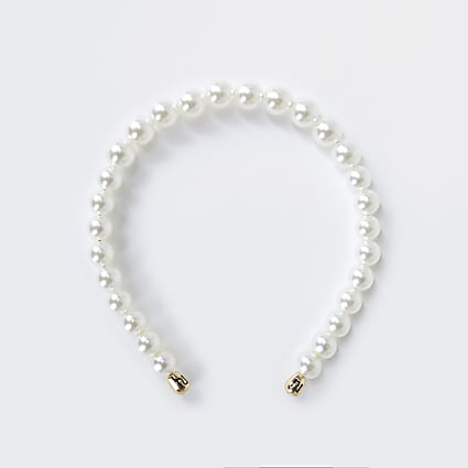White Graduated Pearl Headband