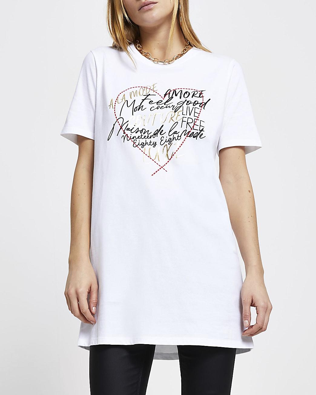 White graffiti heart short sleeve t-shirt