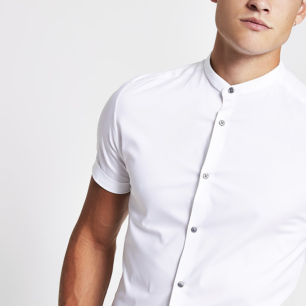 White grandad collar muscle fit shirt