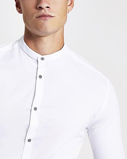 White grandad muscle fit long sleeve shirt