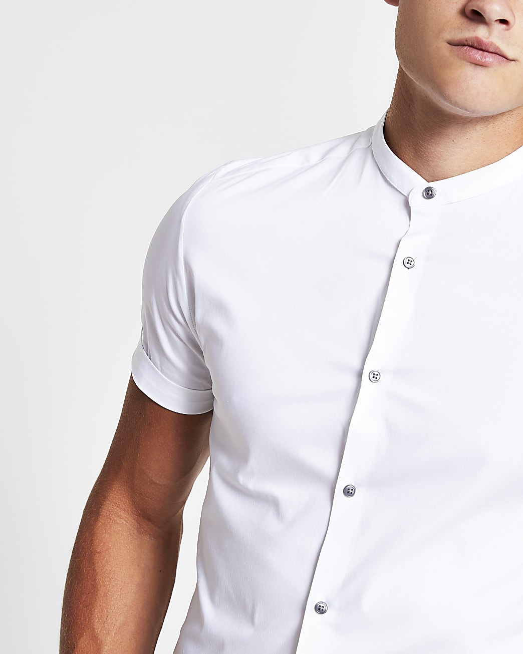 White grandad muscle fit short sleeve shirt