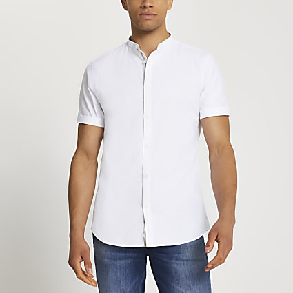 White grandad short sleeve Oxford shirt