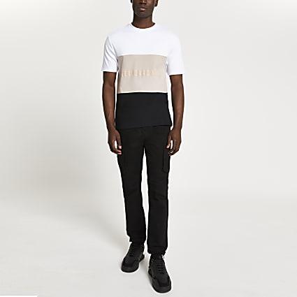 White graphic colour block t-shirt