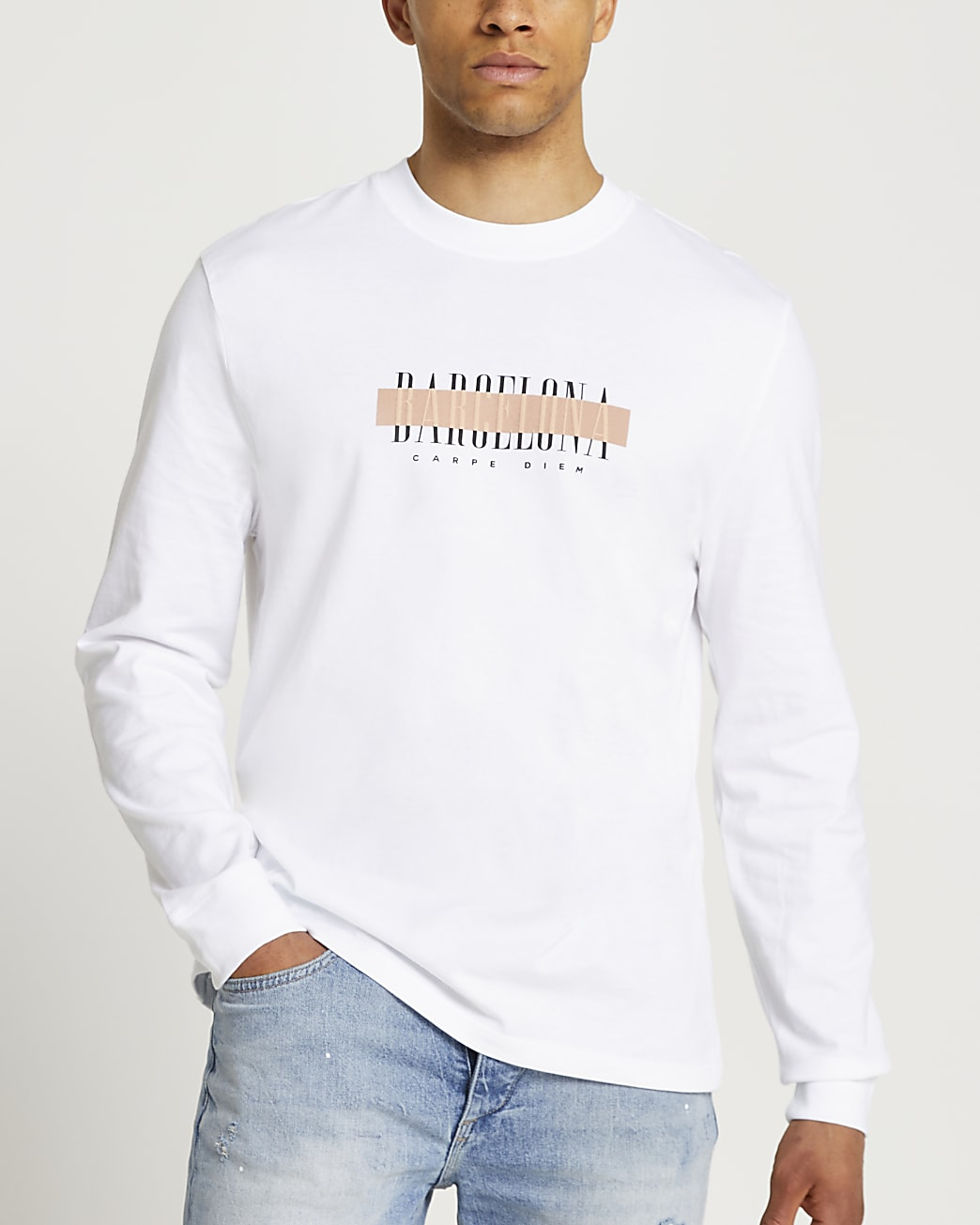 White graphic long sleeve t-shirt