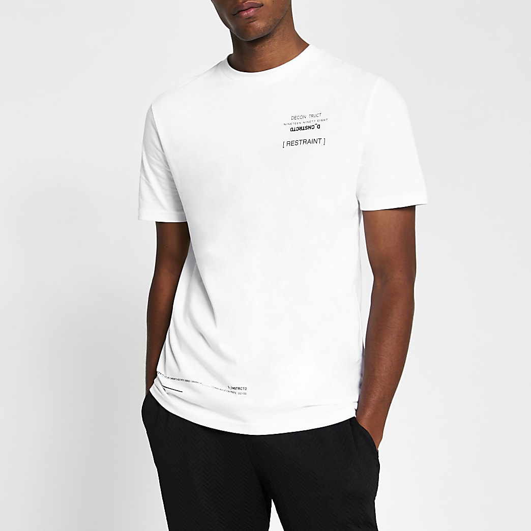 White graphic print slim fit T-fit