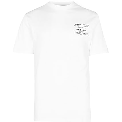 White graphic short sleeve t-shirt