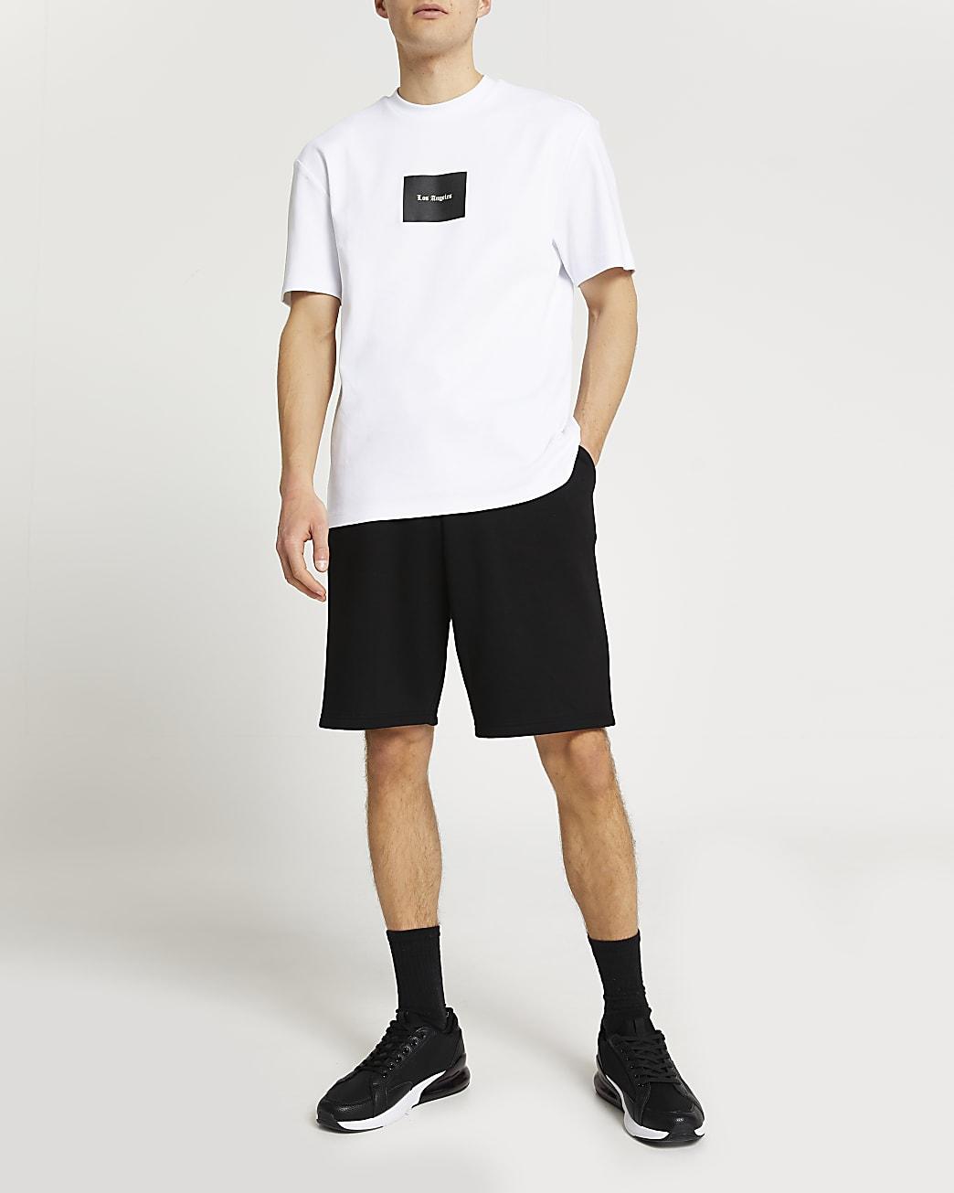 White graphic slim fit t-shirt