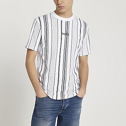 White graphic stripe slim fit t-shirt