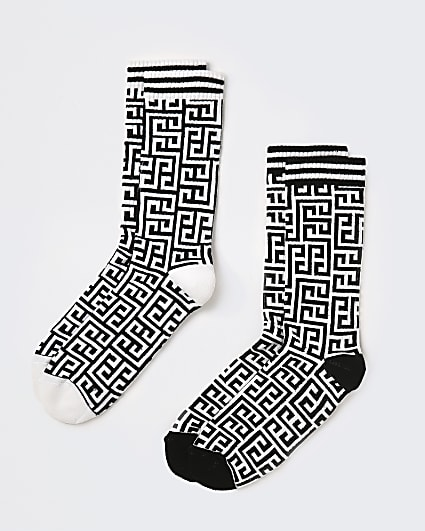 White Greek print tube socks 2 pack
