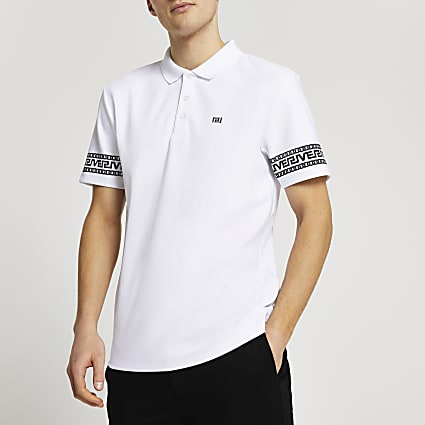 White Greek river detail slim fit polo shirt