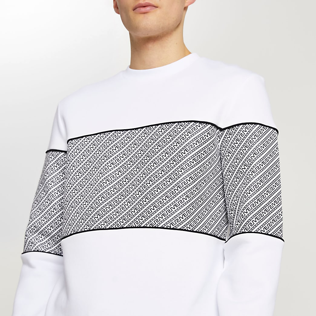 White Greek river panel slim fit sweatshirt